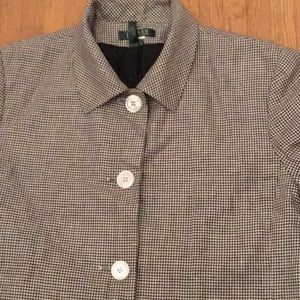 Ralph Lauren navy white check linen crop jacket 16